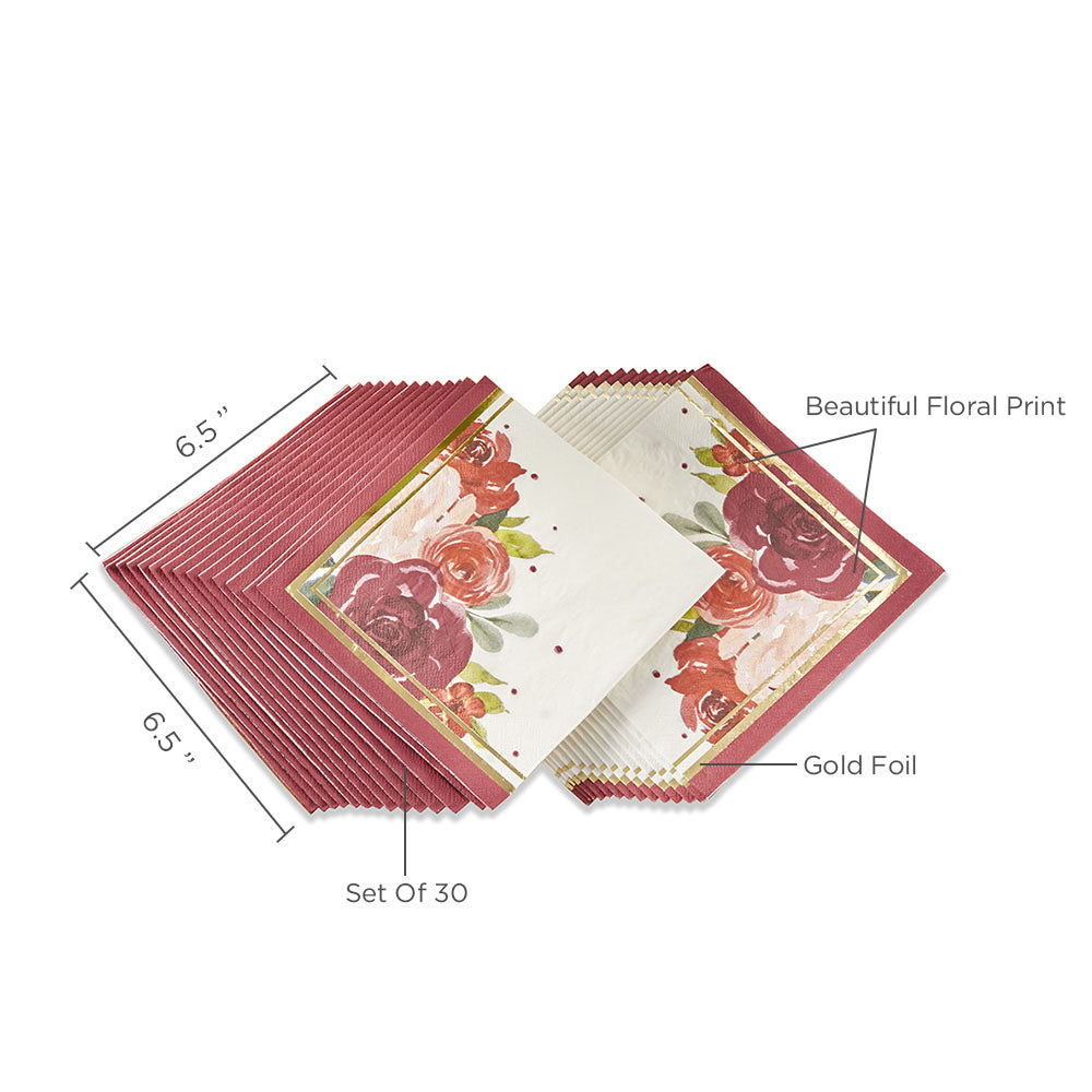 Load image into Gallery viewer, Burgundy Blush Floral 2 Ply Paper Napkins (Set of 30)