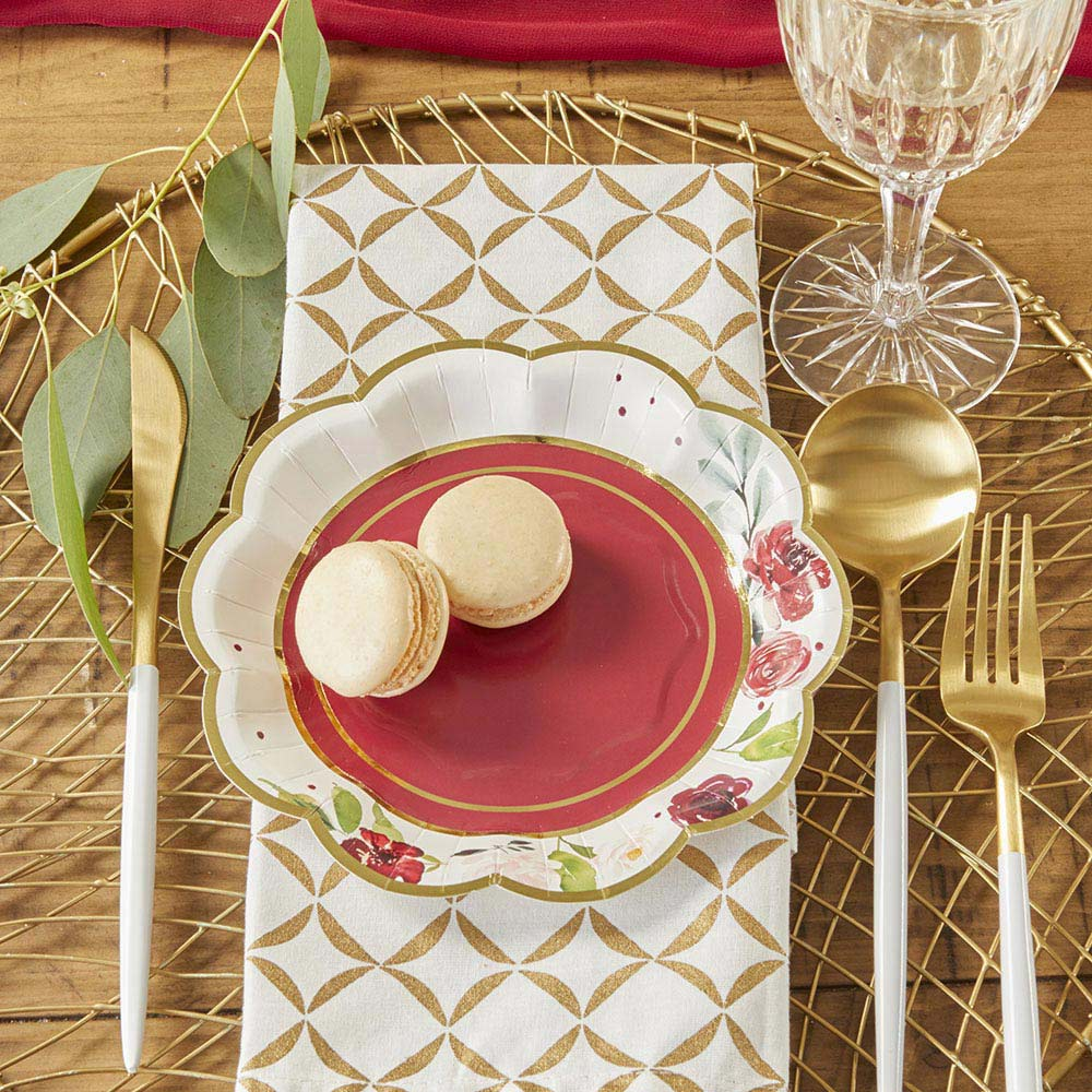 Burgundy Blush Floral 7 in. Premium Paper Plates (Set of 16)
