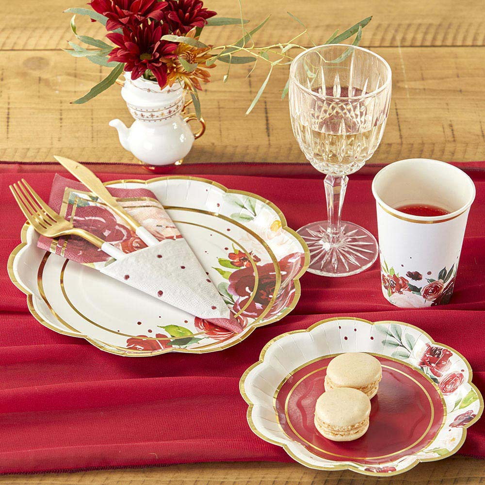 Load image into Gallery viewer, Burgundy Blush Floral 7 in. Premium Paper Plates (Set of 16)