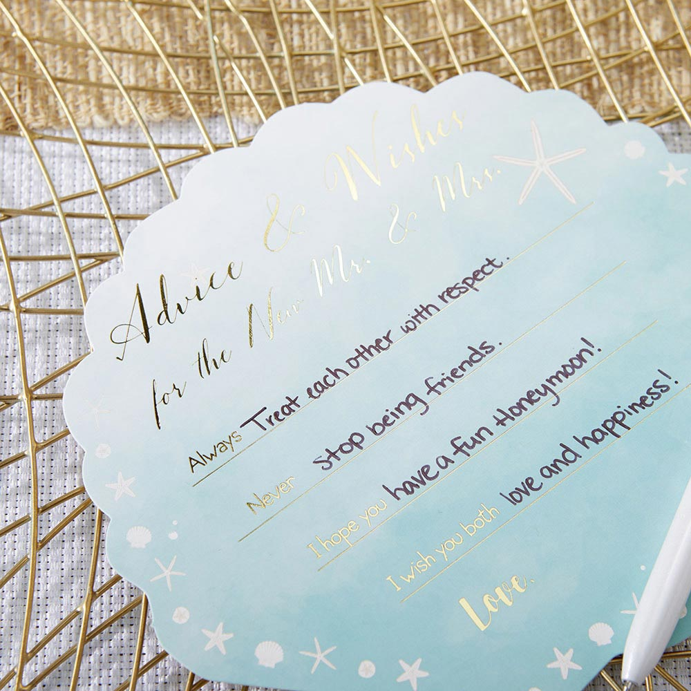 Load image into Gallery viewer, Beach Party Wedding Advice Cards - Sea Shell (Set of 50)