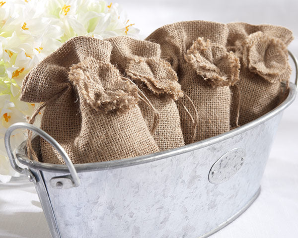 Rustic Renaissance Burlap Favor Bag with Drawstring Tie - Available Personalized (Set of 12)