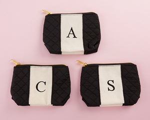 Classic Black and White Monogram Makeup Bag