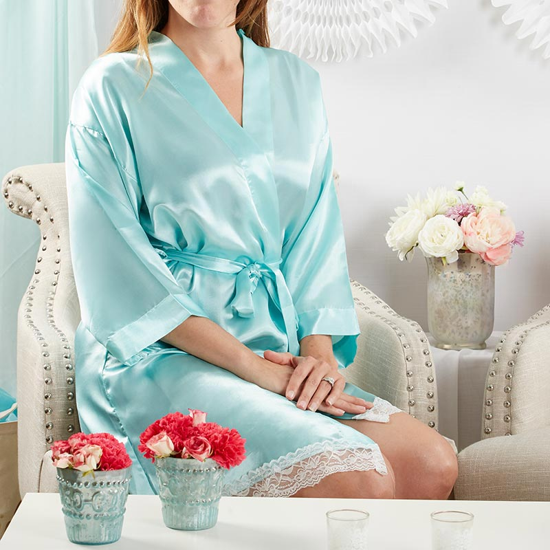 Elegant Lace Kimono Robe - Aqua (Personalization Available)