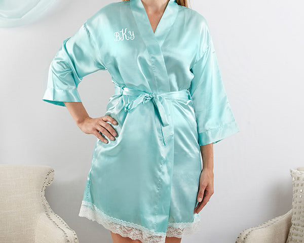 Load image into Gallery viewer, Elegant Lace Kimono Robe - Aqua (Personalization Available)