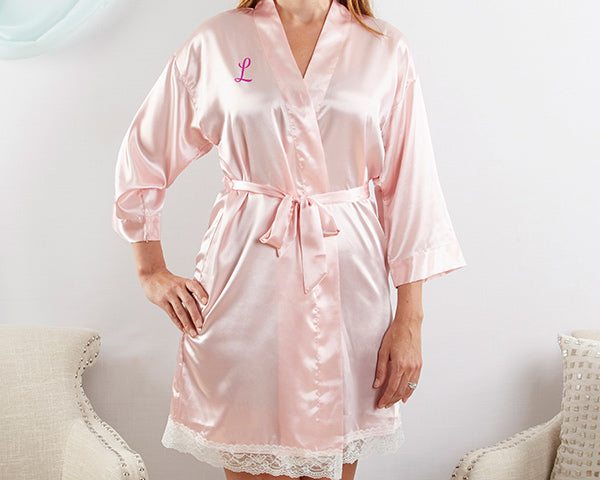 Load image into Gallery viewer, Elegant Lace Kimono Robe - Pink (Personalization Available)