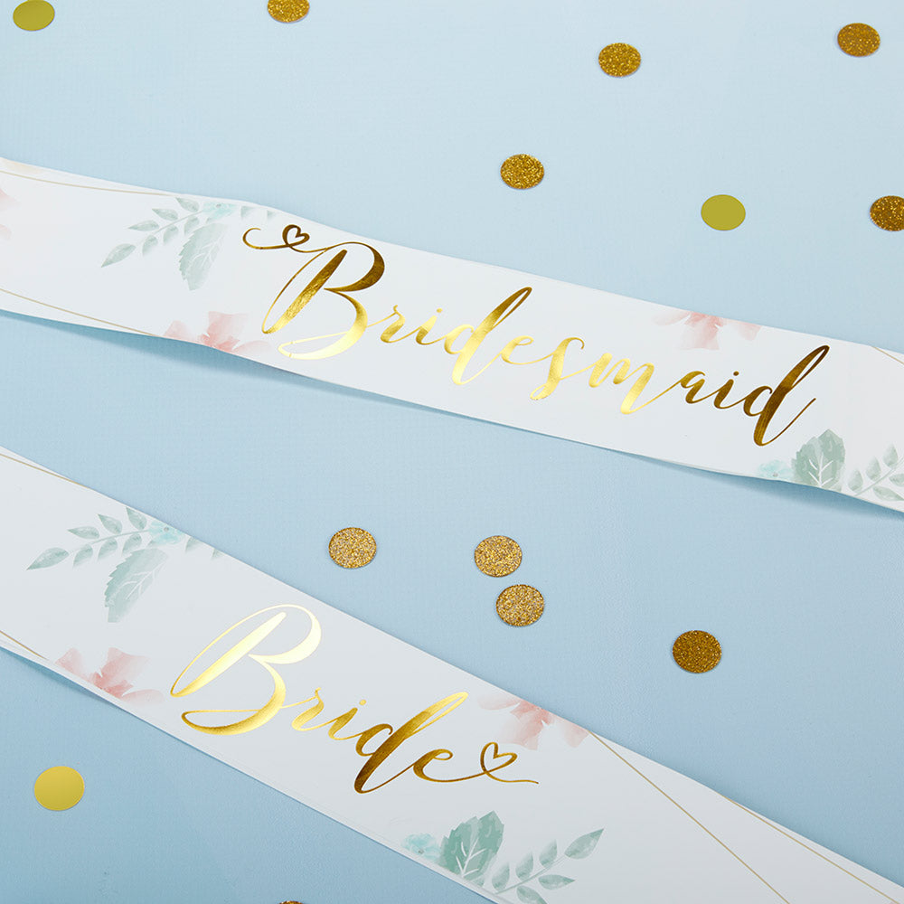 Load image into Gallery viewer, Geometric Floral Bachelorette Satin Sash Set (Set of 6)