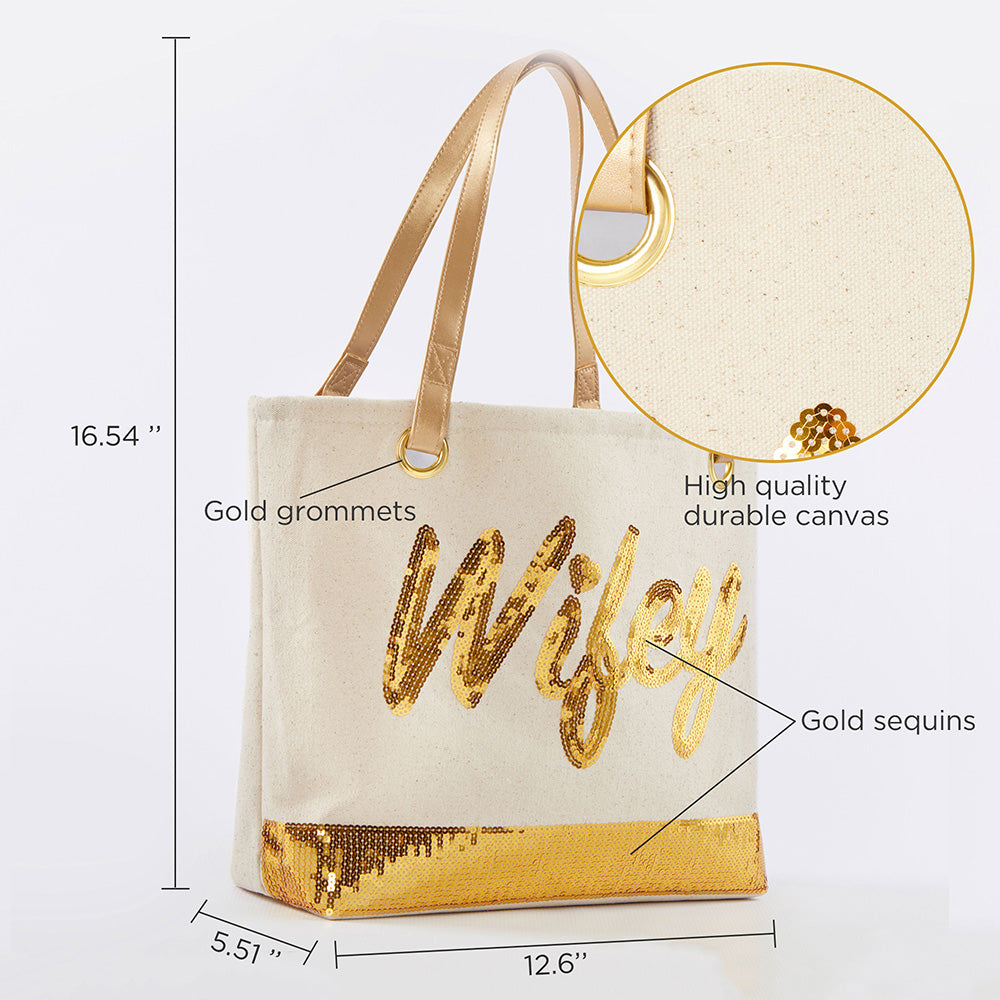 Load image into Gallery viewer, Sequin Wifey Canvas Tote
