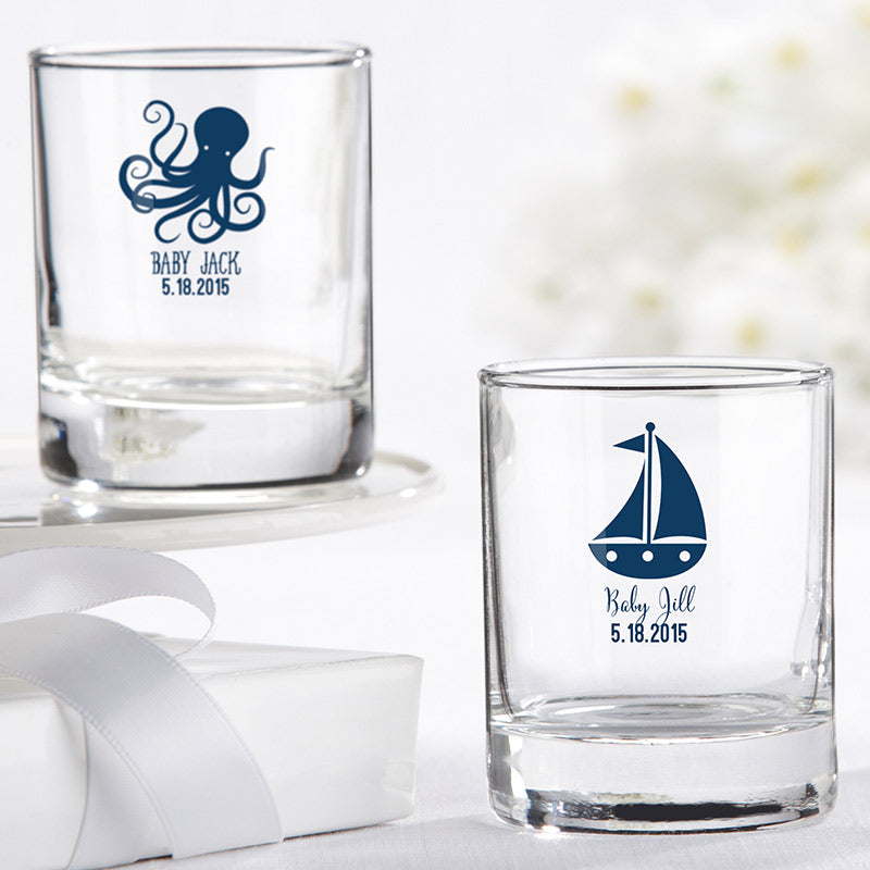 Personalized 2 oz. Shot Glass/Votive Holder - Nautical Baby Shower