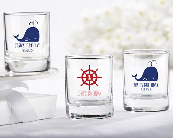Personalized 2 oz. Shot Glass/Votive Holder - Nautical Birthday