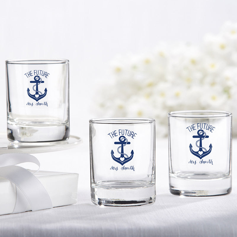 Personalized 2 oz. Shot Glass/Votive Holder - Nautical Bridal Shower
