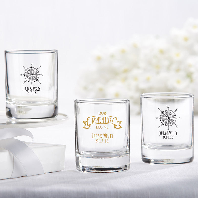 Personalized 2 oz. Shot Glass/Votive Holder - Travel & Adventure