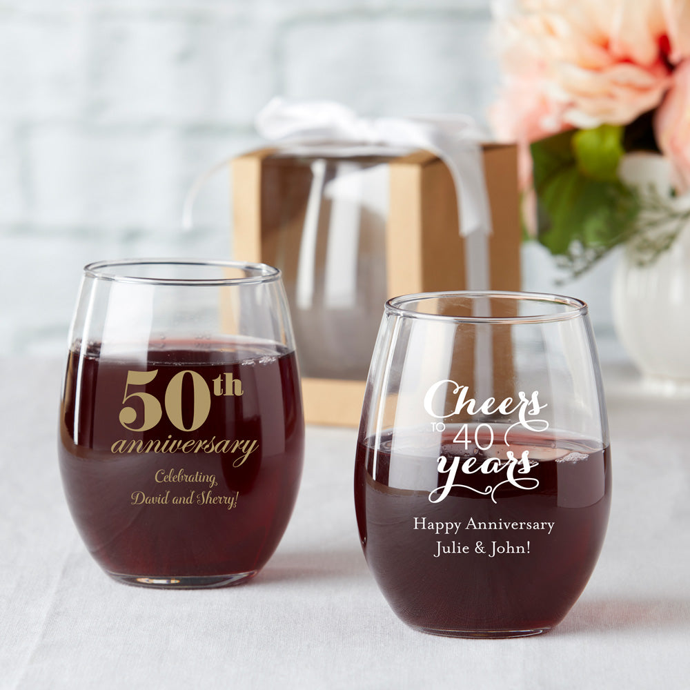 Personalized 9 oz. Stemless Wine Glass - Anniversary
