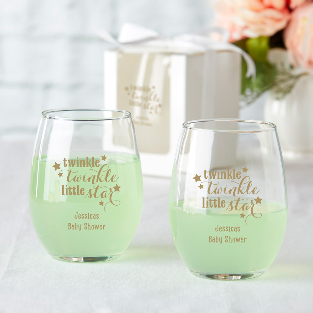 Personalized 9 oz. Stemless Wine Glass - Baby Shower