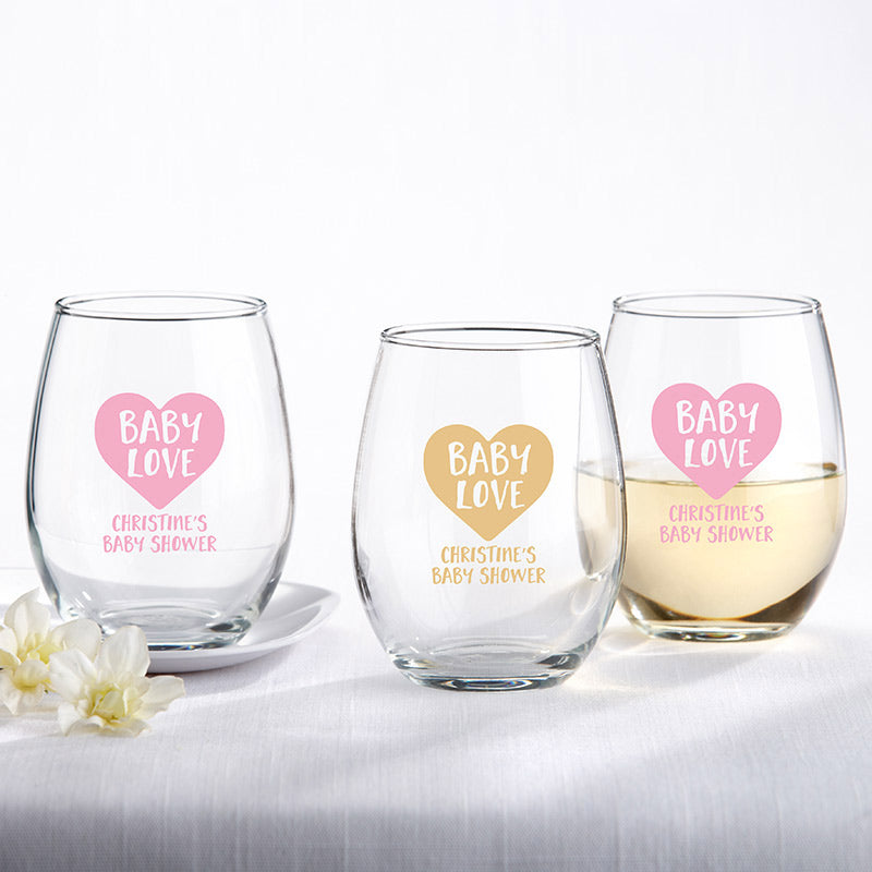 Personalized 9 oz. Stemless Wine Glass - Baby Love