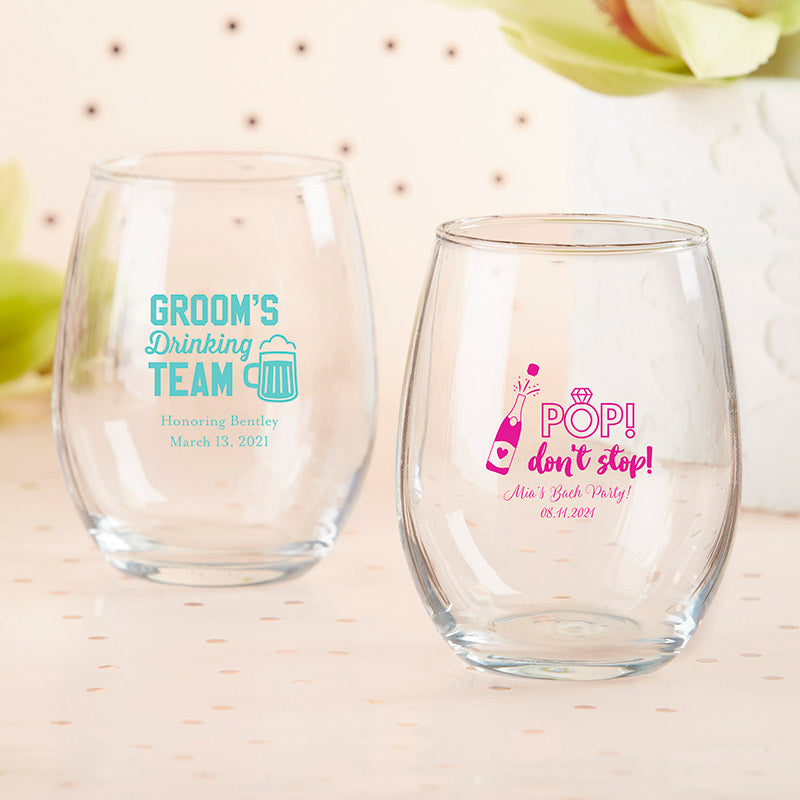 Personalized 9 oz. Stemless Wine Glass - Bachelor & Bachelorette