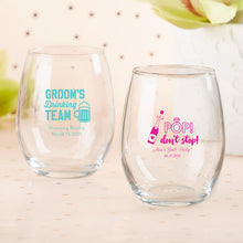 Load image into Gallery viewer, Personalized 9 oz. Stemless Wine Glass - Bachelor & Bachelorette