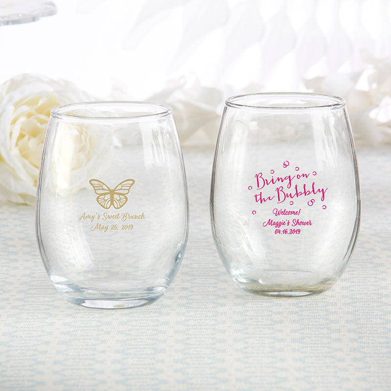 Personalized 9 oz. Stemless Wine Glass - Brunch