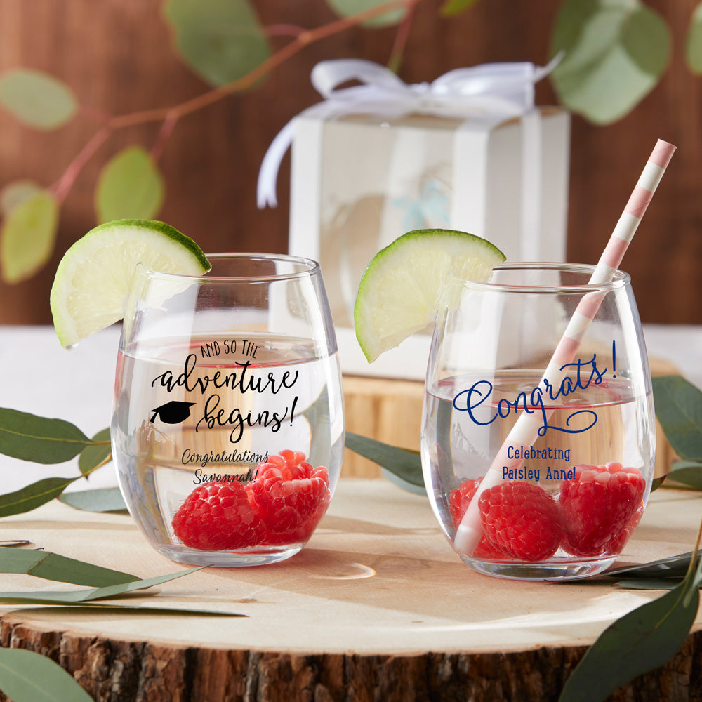 Load image into Gallery viewer, Personalized 9 oz. Stemless Wine Glass - Celebration