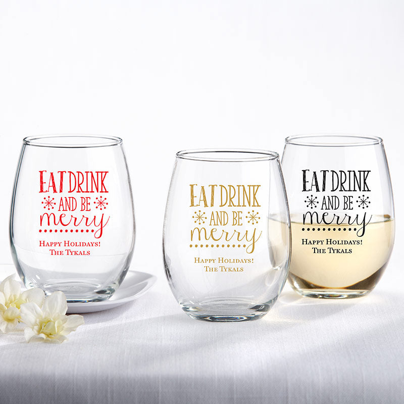 Personalized 9 oz. Stemless Wine Glass - Eat, Drink, Be Merry