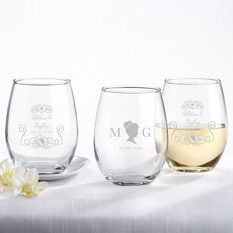 Personalized 9 oz. Stemless Wine Glass - English Garden