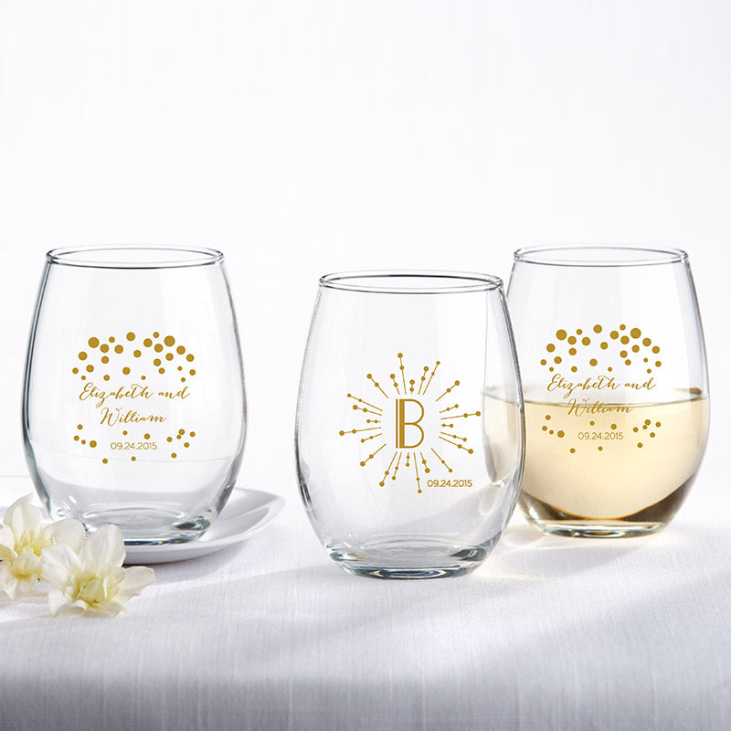 Personalized 9 oz. Stemless Wine Glass - Milestone Gold