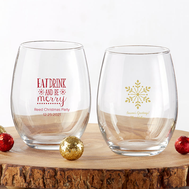 Personalized 9 oz. Stemless Wine Glass - Holiday