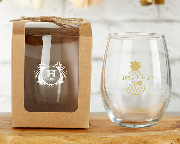 Personalized 9 oz. Stemless Wine Glass - Tropical Chic