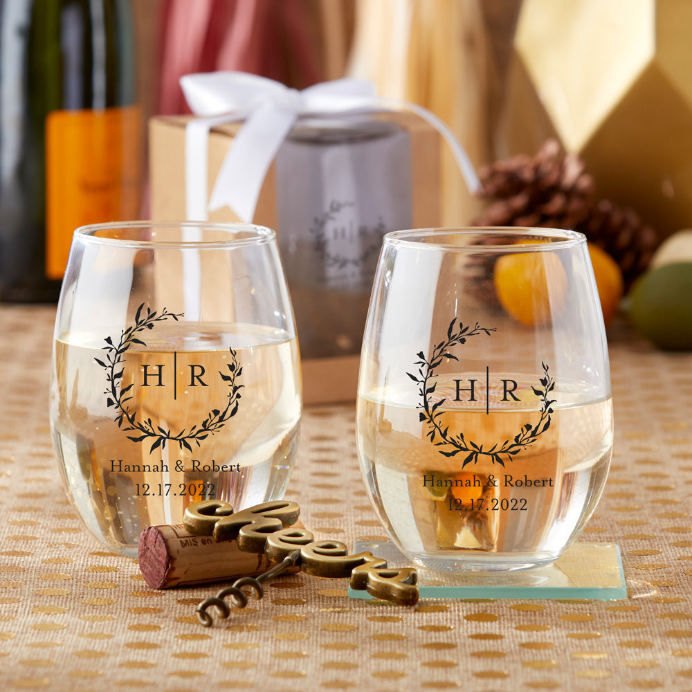 Personalized 9 oz. Stemless Wine Glass - Monogram
