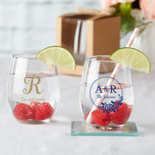 Load image into Gallery viewer, Personalized 9 oz. Stemless Wine Glass - Monogram