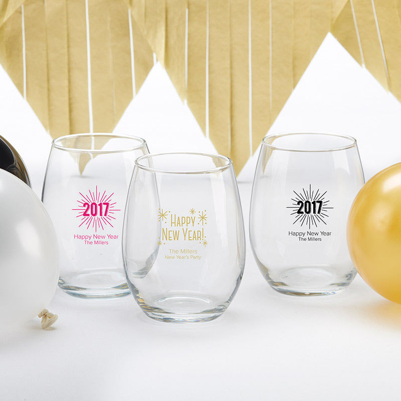 Personalized 9 oz. Stemless Wine Glass - New Years