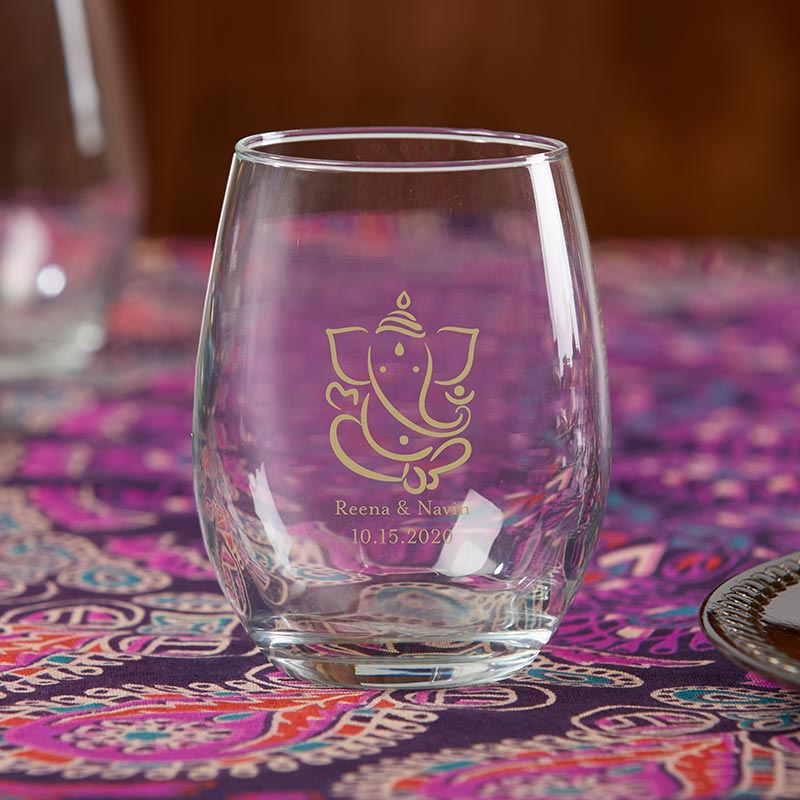 Personalized 9 oz. Stemless Wine Glass - Indian Jewel