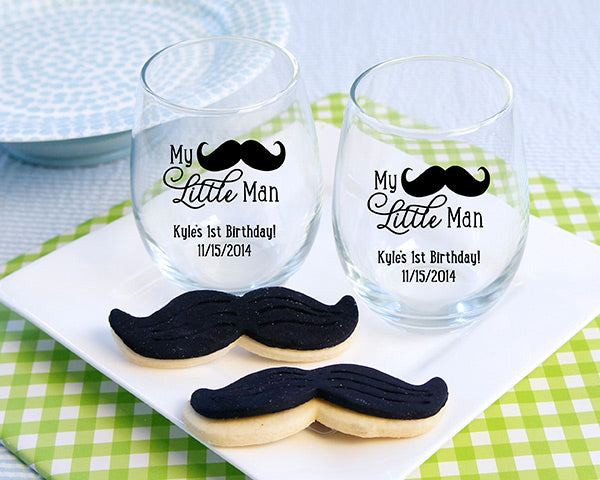 "Personalized  ""My Little Man"" Printed Stemless Wine Glass (White or Kraft Gift Box Available)"