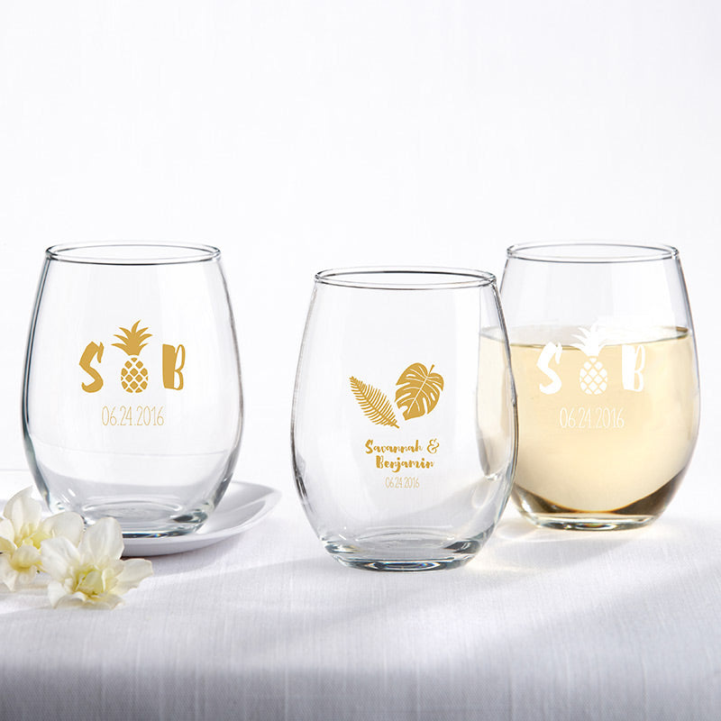 Personalized 9 oz. Stemless Wine Glass - Pineapples & Palms