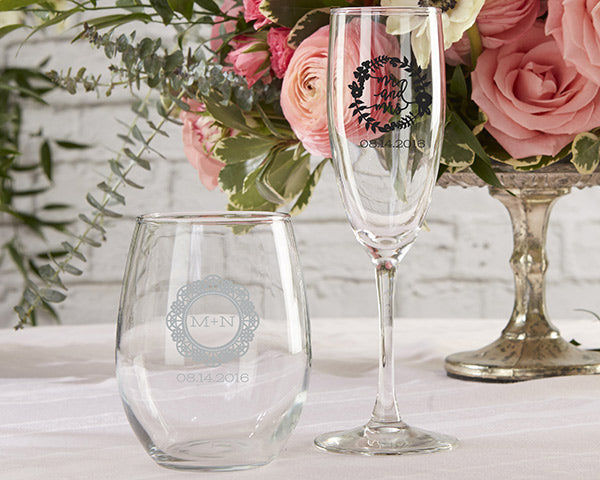 Personalized 9 oz. Stemless Wine Glass - Romantic Garden