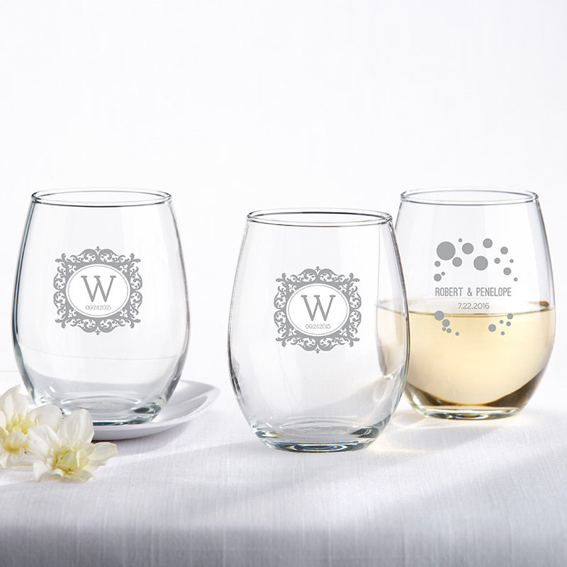 Personalized 9 oz. Stemless Wine Glass - Milestone Silver