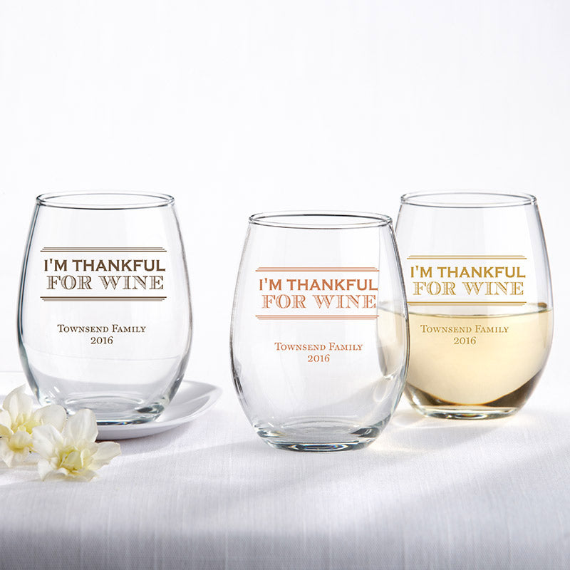 Personalized 9 oz. Stemless Wine Glass - Thankful for Wine