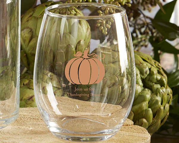 Personalized 9 oz. Stemless Wine Glass - Thanksgiving