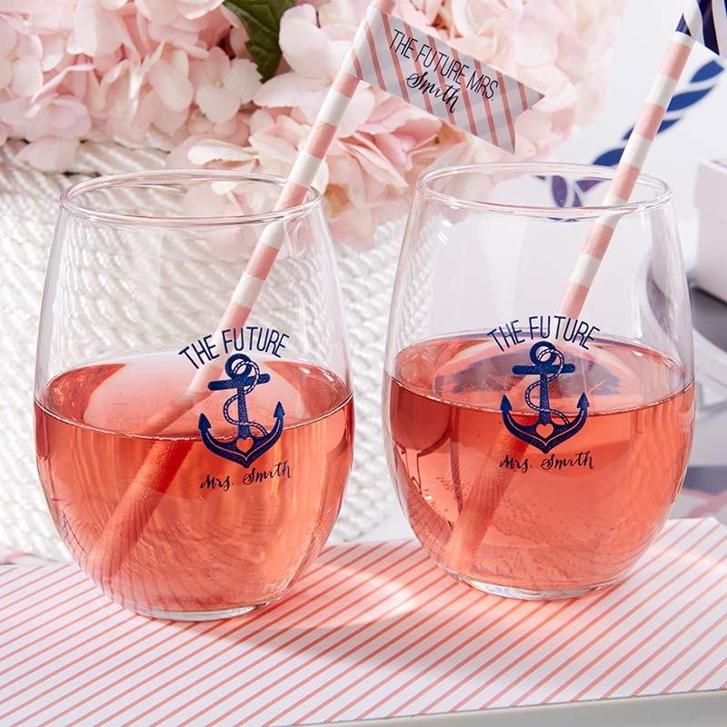 Personalized 9 oz. Stemless Wine Glass - Kate's Nautical Bridal Shower Collection