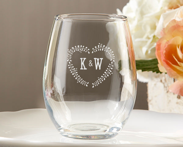 Personalized 9 oz. Stemless Wine Glass - Rustic Wedding
