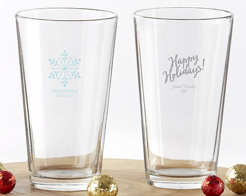 Personalized 16 oz. Pint Glass - Holiday
