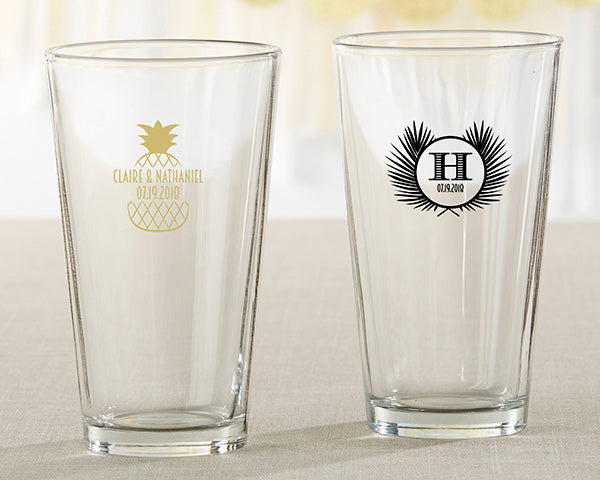 Personalized 16 oz. Pint Glass - Tropical Chic