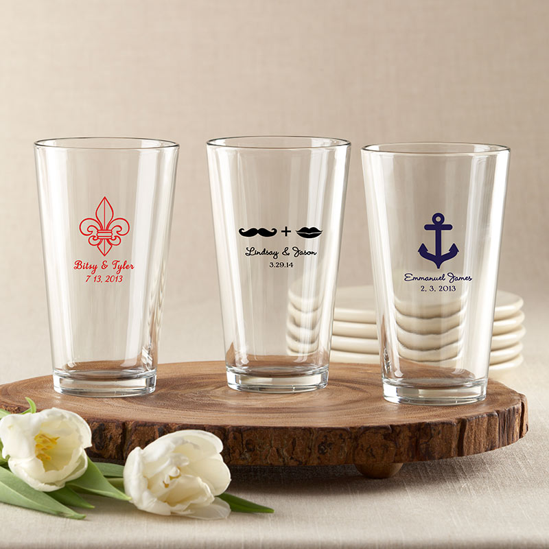 Personalized 16 oz. Pint Glass - Wedding