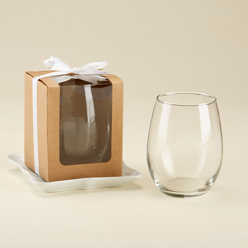 Personalized 15 oz. Stemless Wine Glass - Rustic Charm Wedding