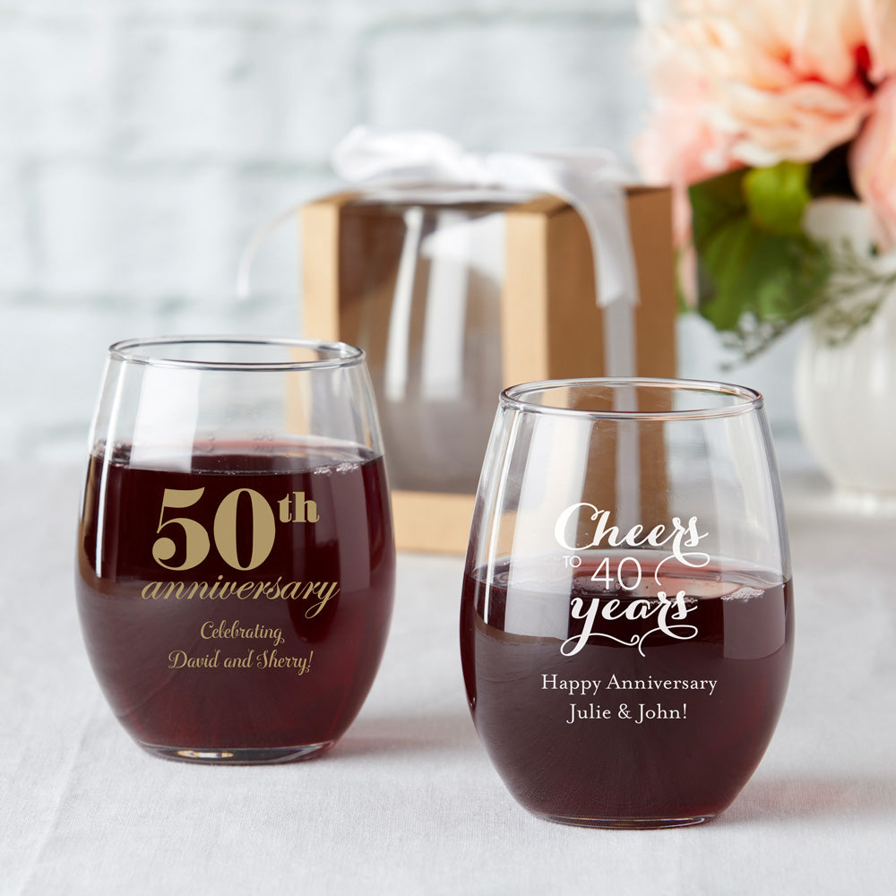 Load image into Gallery viewer, Personalized 15 oz. Stemless Wine Glass - Anniversary