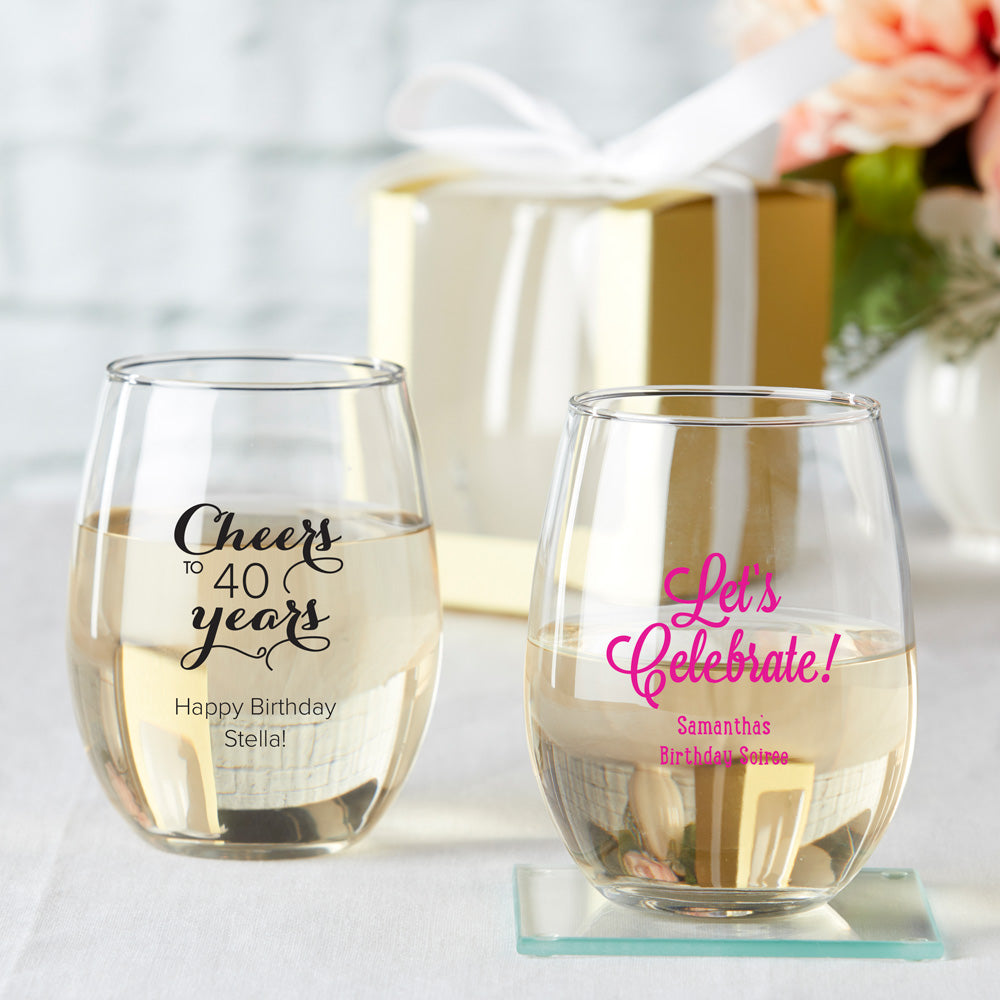 Load image into Gallery viewer, Personalized 15 oz. Stemless Wine Glass - Birthday