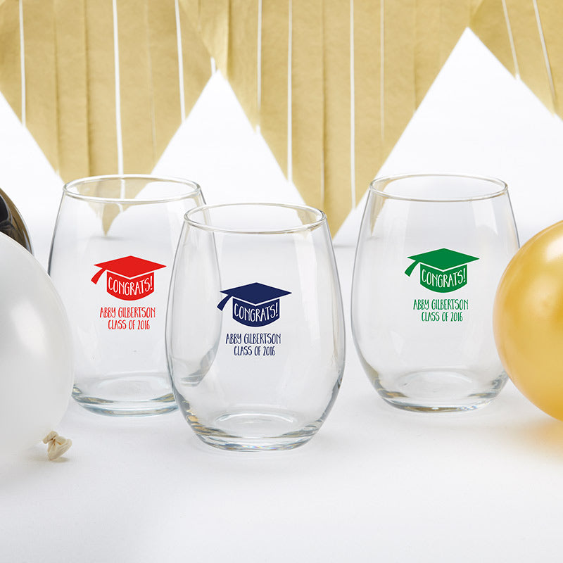Personalized 15 oz. Stemless Wine Glass - Congrats Graduation Cap