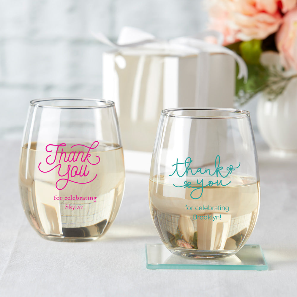 Load image into Gallery viewer, Personalized 15 oz. Stemless Wine Glass - Celebration