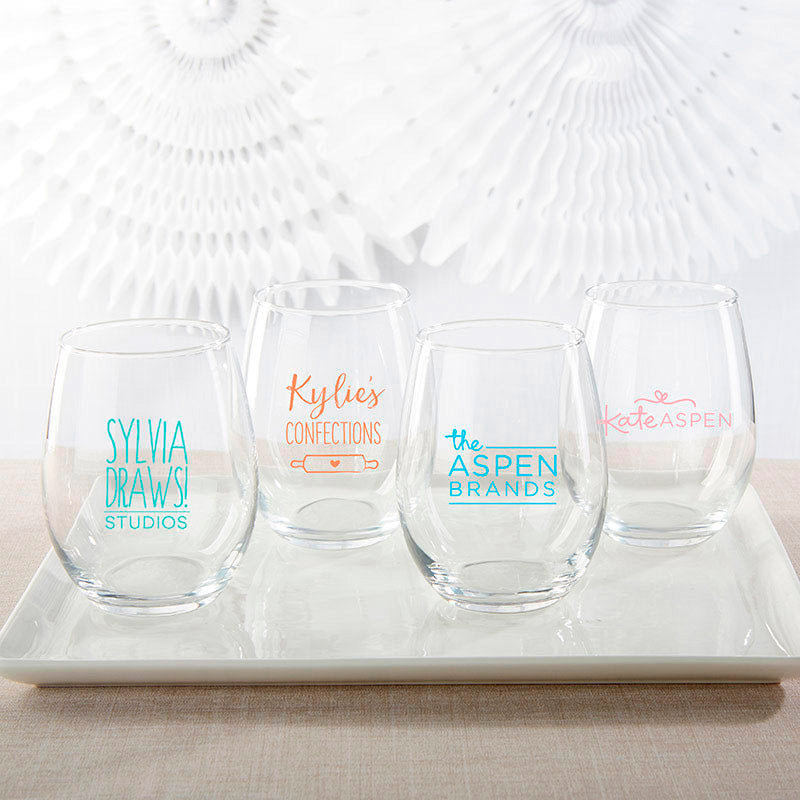 Personalized 15 oz. Stemless Wine Glass - Custom Design