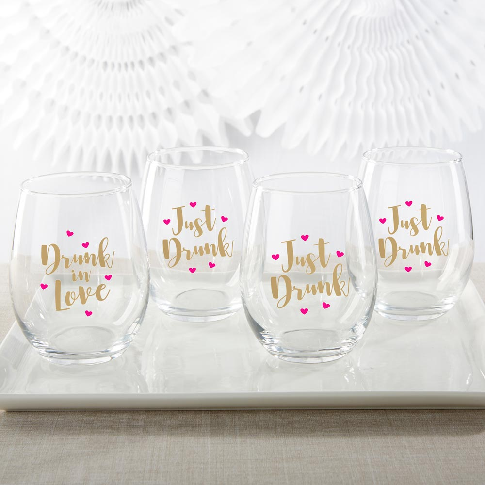 Drunk In Love & Just Drunk 15 oz. Stemless Wine Glass (Set of 4)