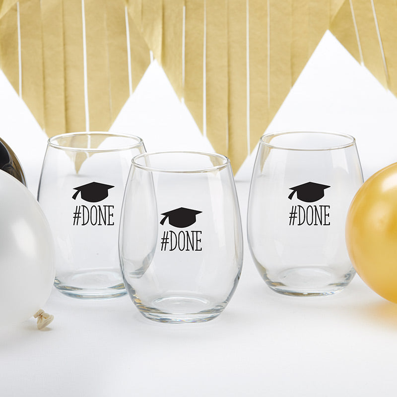 #Done Graduation 15 oz. Stemless Wine Glass (Set of 4)